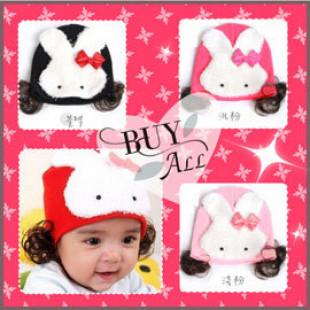 兒童造型大兔兔假髮保暖造型帽帽~兩側還有假髮片唷/假髮帽/保暖帽!!!