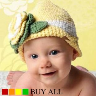一年四季好搭女童歐風寶貝立體花朵手工毛線帽☆黃色☆ S.M.L ☆