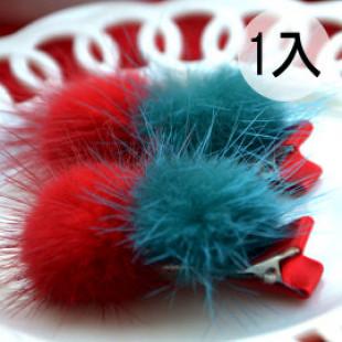 【兒童配件髮飾】聖誕節,年節系列喜氣宴會髮式-韓版-可愛雙球球造型髮夾 /兒童髮飾/鴨嘴夾/橫夾☆1入裝☆