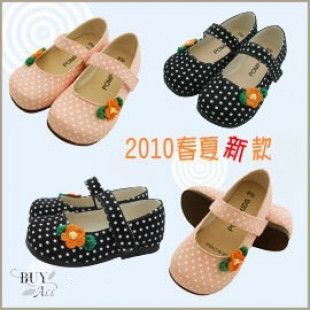 【兒童鞋子,包鞋,室內鞋,靴子各式鞋款】點點小花朵氣質女孩鞋/兒童鞋子/包鞋 14-18號