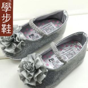 【買窩~給寶寶人生第一步的小鞋子】銀色大花朵娃娃鞋/學步鞋/防滑童鞋/寶寶鞋/嬰幼兒鞋/外出休閒鞋