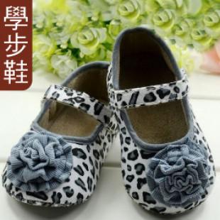 【給寶寶人生第一步的小鞋子】可愛豹紋大花朵娃娃鞋(灰)/學步鞋/防滑童鞋/寶寶鞋/嬰幼兒鞋/外出休閒鞋
