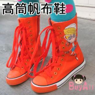 【親子鞋款,兒童鞋子,靴子,帆布鞋各式鞋款】色彩活潑時尚中大童高筒靴型帆布鞋~紀念彩繪活潑休閒鞋
