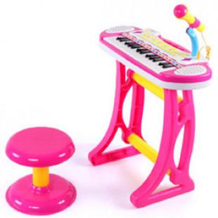 【兒童早教益智音樂帶麥克風椅子電子琴玩具】花最實惠的價格誘發小孩的音樂興趣,還有多種混音功能鍵,益智玩具/兒童樂器