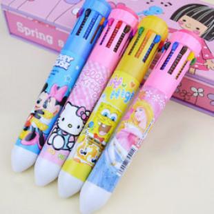 【孩子的啟蒙來自父母的用心,可愛圖案增加學習樂趣】10色圓珠筆安全無毒-隨手可啟發畫畫樂趣-美術用品/繪畫用具/著色彩色筆