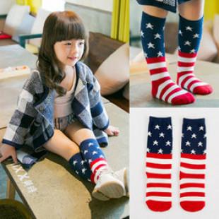 【兒童襪子系列】美國國旗氣質條紋長筒襪好穿搭☆1歲起皆可穿長筒襪/中統襪/膝上襪/長襪☆