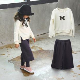【春秋新款姐妹裝】女童M字母棉質休閒套裝/秋冬套裝/長袖套裝☆11-17號☆