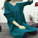 秋冬毛衣讓您秋冬暖又美,相當保暖,禦寒少女大童媽媽皆可,時尚穿搭術-女裝毛衣女式寬鬆V領大碼韓版素色針織衫