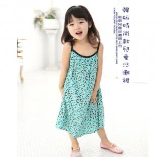 【夏季海灘公主風】韓版時尚兒童沙灘裙/細肩帶連身裙/綠色豹紋連身裙