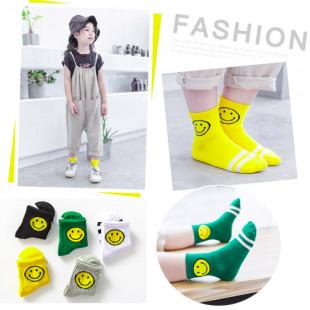 男/女童中筒襪童襪~黃色微笑條紋中筒襪~造型襪子/兒童襪子★5色★S/M/L